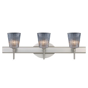 Nico Satin Nickel Three-Light Bath Fixture with Clear Stone Glass