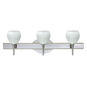 Tay Tay Chrome Three-Light Bath Fixture with Carrera Glass