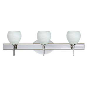 Tay Tay Chrome Three-Light Bath Fixture with Cocoon Glass