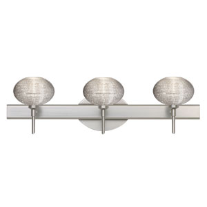 Lasso Satin Nickel Three-Light Bath Fixture with Glitter Glass