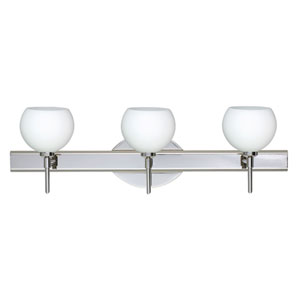 Palla Chrome Three-Light Bath Fixture with Opal Matte Glass