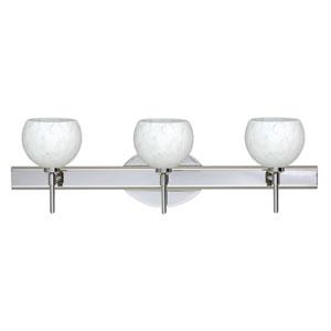 Palla Chrome Three-Light Bath Fixture with Carrera Glass