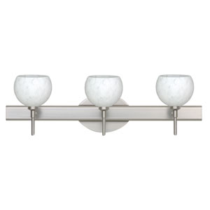 Palla 5 Satin Nickel Three-Light Bath Fixture with Carrera Glass