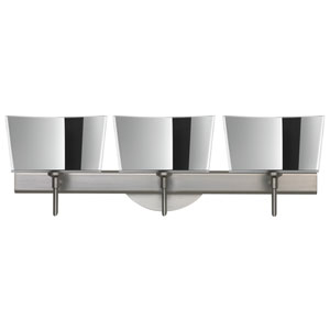 Groove Satin Nickel Three-Light LED Bath Vanity with Mirror-Frost Glass