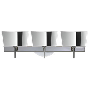 Groove Chrome Three-Light Bath Fixture with Mirror-Frost Glass