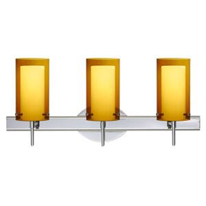 Pahu 4 Chrome Three-Light LED Bath Vanity with Transparent Armagnac Glass