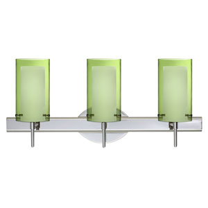 Pahu Chrome Three-Light Bath Fixture with Transparent Olive and Opal Glass