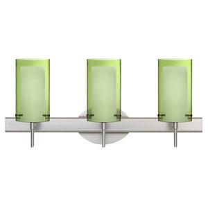 Pahu 4 Satin Nickel Three-Light LED Bath Vanity with Transparent Olive Glass