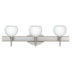 Palla 5 Satin Nickel Three-Light LED Bath Vanity with Opal Matte Glass