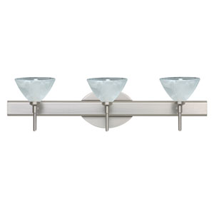 Domi Satin Nickel Three-Light LED Bath Vanity with Marble Glass