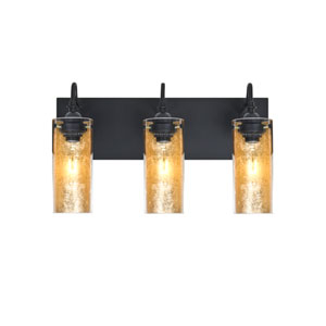 Duke Black Three-Light Vanity with Gold Foil Shade