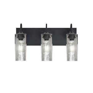 Duke Black Three-Light Vanity with Silver Foil Shade
