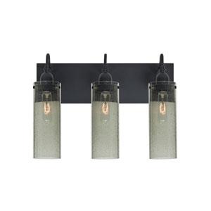 Juni Black Three-Light Vanity with Moss Bubble Shade