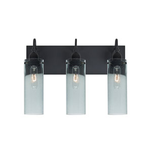 Juni Black Three-Light Vanity with Blue Bubble Shade
