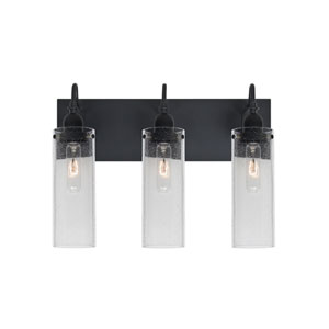 Juni Black Three-Light Vanity with Clear Bubble Shade