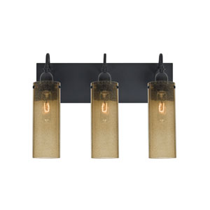 Juni Black Three-Light Vanity with Latte Bubble Shade