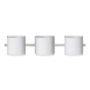 Pogo Satin Nickel Three-Light Bath Fixture with White and Inner Silver Glass