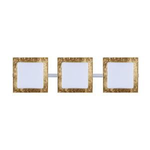 Alex Chrome Three-Light Bath Fixture with Opal and Gold Foil Glass