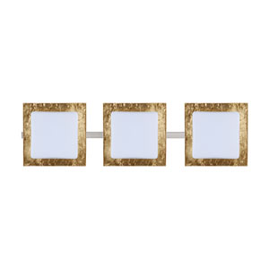 Alex Satin Nickel Three-Light Bath Fixture with Opal/Gold Foil Glass