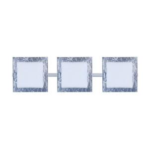Alex Chrome Three-Light Bath Fixture with Opal and Silver Foil Glass