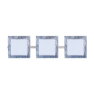 Alex Satin Nickel Three-Light Bath Fixture with Opal/Silver Foil Glass
