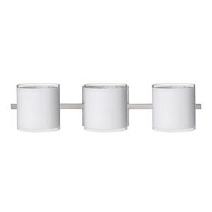 Pogo Satin Nickel Three-Light LED Bath Vanity with White Glass