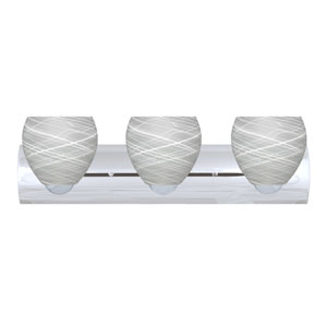 Bolla Chrome Three-Light Bath Fixture with Cocoon Glass