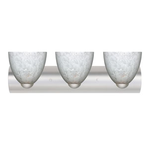 Sasha II Satin Nickel Three-Light Bath Fixture with Carrera Glass