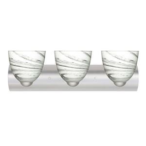 Sasha II Satin Nickel Three-Light Bath Fixture with Marble Grigio Glass