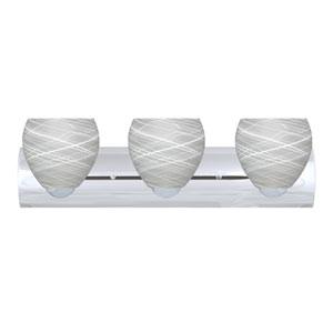 Bolla Chrome Three-Light LED Bath Vanity with Cocoon Glass