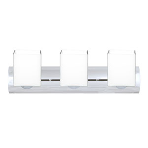 Rise Chrome Three-Light LED Bath Vanity with Opal Matte Glass