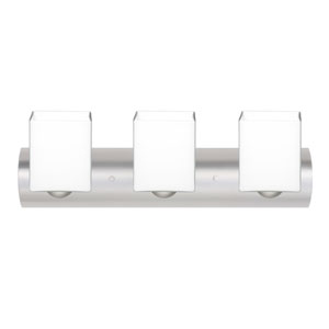 Rise Satin Nickel Three-Light LED Bath Vanity with Opal Matte Glass