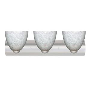 Sasha II Satin Nickel Three-Light LED Bath Vanity with Carrera Glass