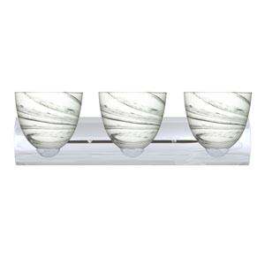 Sasha II Chrome Three-Light LED Bath Vanity with Marble Grigio Glass