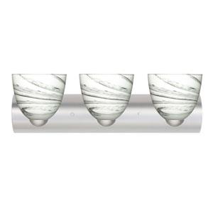 Sasha II Satin Nickel Three-Light LED Bath Vanity with Marble Grigio Glass