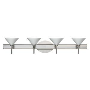 Kona Satin Nickel Four-Light Bath Fixture with White Glass