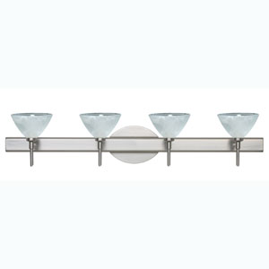 Domi Satin Nickel Four-Light Bath Fixture with Marble Glass