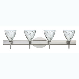 Mia Satin Nickel Four-Light Bath Fixture with Marble Grigio Glass