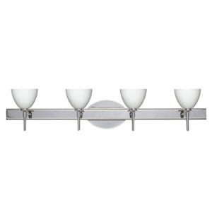 Divi Chrome Four-Light Bath Fixture with Opal Matte Glass
