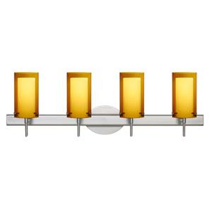 Pahu 4 Satin Nickel Four-Light LED Bath Vanity with Transparent Armagnac Glass