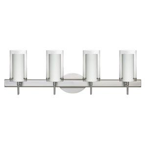 Pahu 4 Satin Nickel Four-Light LED Bath Vanity with Clear Glass