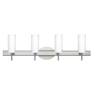 Copa Satin Nickel Four-Light Bath Fixture with Opal Matte Glass