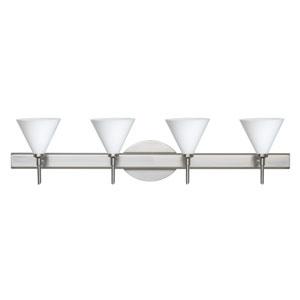 Kani Satin Nickel Four-Light Bath Fixture with Opal Matte Glass
