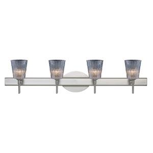 Nico Satin Nickel Four-Light Bath Fixture with Clear Stone Glass