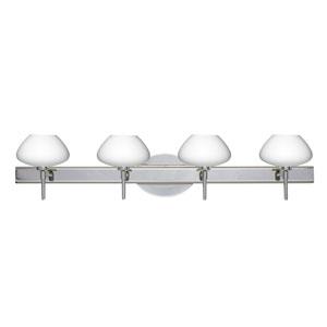 Peri Chrome Four-Light Bath Fixture with Opal Matte Glass