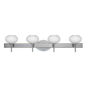 Lasso Chrome Four-Light Bath Fixture with Opal Matte Glass