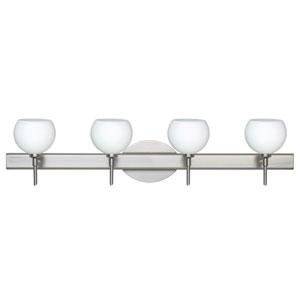 Palla 5 Satin Nickel Four-Light Bath Fixture with Opal Matte Glass