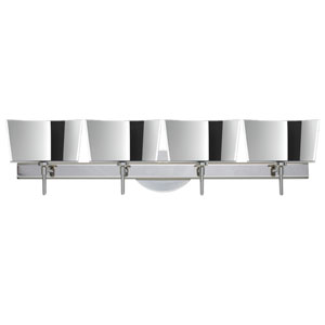 Groove Chrome Four-Light Bath Fixture with Mirror-Frost Glass