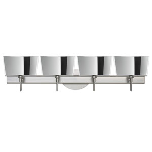 Groove Satin Nickel Four-Light Bath Fixture with Mirror-Frost Glass
