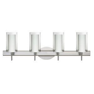 Pahu Satin Nickel Four-Light Bath Fixture with Clear and Opal Glass